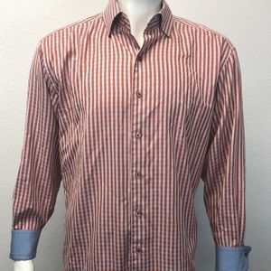 ROBERT GRAHAM Long Sleeve Plaid Checked Red XL